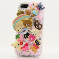 Super Cute Bear Design for iPhone 5 5S 5C 4/4S  Samsung Galaxy S3 S4 Note2 3  100% Handcrafted Case Cover 3D Luxury Bling Crystal Pink Sweet Candy Cute Bear Party_420 by Star33mall,