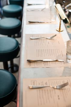 (Eat & Drink) The Palomar Restaurant Restaurant Table Setting, Restaurant Menu Design, Restaurant Tables, Cafe Restaurant, Marina Restaurant, Restaurant Photos, Restaurant Interiors, Bar Table Sets, A Table