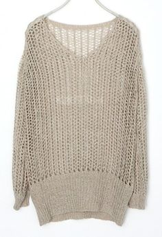 Apricot V Neck Knit Long Sleeve Hollow Sweaters