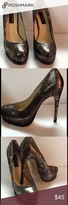 Chinese Laundry Metallic Pumps Brand new in original box. Style name is Wink in pewter. Leather upper with leather sole. Metallic snake skin design. Heel is 4.75 platform is 1.25 Chinese Laundry Shoes Heels