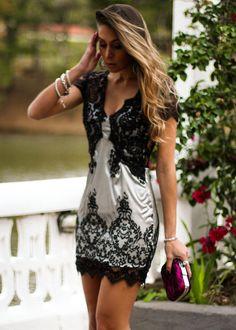 Look com vestido de renda curto para festas