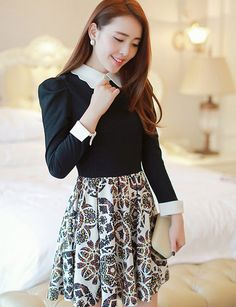 Cotton Blend Black Wing Collar Pleated Fashion Style Casual Dress  #ShopSimple