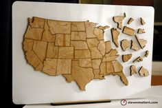 USA Rivers & Lakes Map Puzzle - Birch Plywood. $78.00, via Etsy.