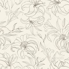 Seamless Pattern with Blooming Lilies ...  art, background, blooming, creative, decor, decoration, decorative, elegance, element, floral, flower, graphic, illustration, leaf, lily, modern, nature, ornament, ornate, pattern, plant, repeat, seamless, sepia, spring, style, textile, vector, vintage, wallpaper