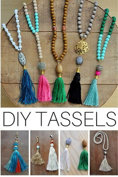 How To Make Diy Beaded Tassel Necklaces Beaded Tassel Necklace Alice And Minute Diy Tassel Necklace Simple Fall Colors Tassel Necklaces Boho Tassel Necklace Tutorial Happy Mango Beads Diy Tassel Necklace Pearls And Scissors… Prayer Bead Necklaces, Beaded Tassel Necklace, Tassel Jewelry, Jewellery Box, Jewelry Holder, Diy Beaded Necklaces, Jewellery Storage, Jewelry Necklaces, Wire Jewelry