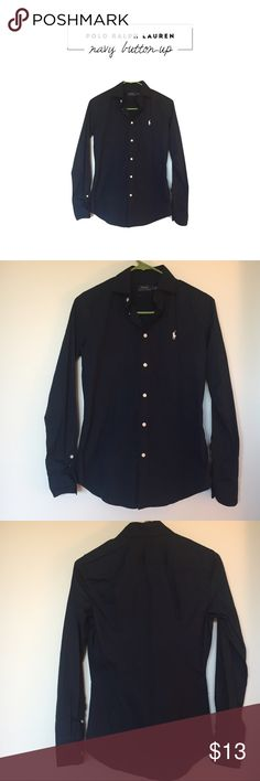 NWOT POLO Ralph Lauren Navy Button Up A classic shirt, worn once, in perfect condition. Size is 6, i would say it fits more like a 4. Feel free to send me an offer, all prices are negotiable 🤗 Polo by Ralph Lauren Tops Button Down Shirts