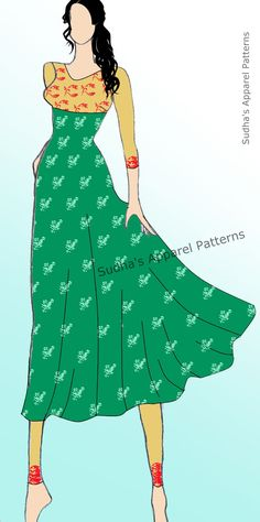 "An Anarkali is a form of women's apparel which has been explored by many fashion designers in Indian fashion industry. It is basically a suit in the form of a long, frock-style top combined usually with a slim fitted bottom garment, known as ""Churidaar"". A stylized design may also have the Anarkali paired with either a ""Salwaar"" or straight cut ""Trouser"". In this post, I have shown step-wise pattern making of Circular skirt Anarkali & its variations."