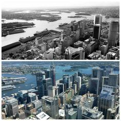 North East over Darling Harbour container terminal/Barangaroo from Sydney Tower 1981 > [Stuart McPherson > Allan Hawley. By Allan Hawley] Container Terminal, Invisible Cities, Sydney City, Darling Harbour, Australia, South Wales, Historical Photos, Buses, Continents