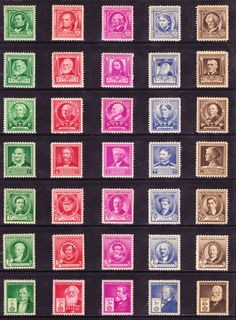 Famous-American-Series-of-1940,-US Post Office stamps - In 1940 the US Post Office issued a set of 35 Commemorative Stamps