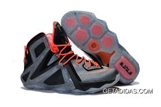 fd197900a49bf Nike Lebron 12 Xii Grey Black Orange TopDeals