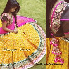 Designer Half Saree by Shravya Varma – South India Fashion Blouse Models, Indian Photography, India Fashion, Women's Fashion, Fashion Trends, Indian Fabric, Western Dresses, Half Saree, Saree Blouse