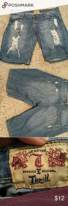 Distressed knee length shorts Soft, comfy and distressed.  Longer knee length shorts thrill Shorts Jean Shorts