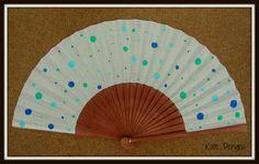 Spotty Dotty Blue Wooden Hand Fan Red by Kate Dengra DengraDesigns