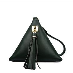 Triangle Handbags Women Famous Brands Fashion Mini Tassel Clutch Black Leather Evening Bag Rivet Canta Dollar Price Acne Studios