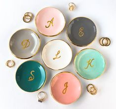 Gold Monogrammed Ring Dish Personalized Ring Dish Ring Holder Jewelry Holder Ceramic Ring Dish Engagement Gift for Her Modern Mud - Cell Phone Ring Stand - Ideas of Cell Phone Ring Stand - Bague en or monogrammé plat personnalisé anneau plat par ModernMud Monogram Ring Dish, Engagement Gifts For Her, Engagement Ring, Personalized Rings, Personalized Bridal Party Gifts, Jewelry Dish, Diy Jewelry, Gold Jewelry, Jewellery