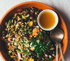Carrot salad with rice, nuts/seeds, and sake dressing