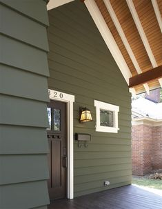 Durable, beautiful weather resistant, James Hardie siding is an outstanding choice for Centennial neighborhoods like Walnut Hills, Homestead more. Siding Colors For Houses, Exterior Paint Colors For House, Paint Colors For Home, Green House Color, Exterior Color Schemes, Exterior Siding Options, Green Siding, Home Exterior Makeover, Craftsman Exterior