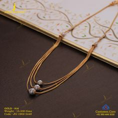 Plain Gold Necklace gms) - Fancy Jewellery for Women by Jewelegance Gold Jewelry Simple, 18k Gold Jewelry, Beaded Jewelry, Jewelry Design Earrings, Gold Jewellery Design, Fancy Jewellery, Gold Mangalsutra Designs, Gold Chain Design, Touch