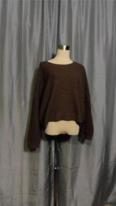 VINCE Brown OverSized Yak Blend Waffle Ribbed Knit Long Sleeve Sweater Size M #VINCE #PULLOVER