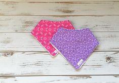 Bandana Bibs / Dribble Bibs / Set of 2 / Princess Collection / Flowers / Butterflies / Purple & Pink Dribble Bibs, Princess Collection, Bandana Bib, Enabling, Bandanas, Nursery Decor, Purple, Pink, Butterfly