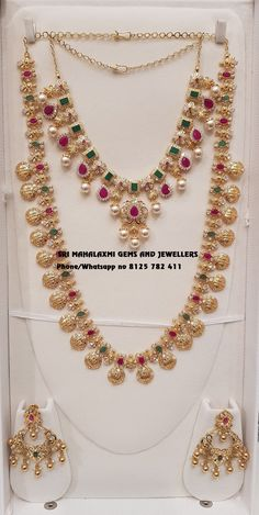 Presenting here is Ram Parivaar Haar with matching Necklace and Chandbali.Contact no 03 January 2019 Jewelry Design Earrings, Gold Jewellery Design, Necklace Designs, Diamond Jewellery, Handmade Jewellery, Jewelry Sets, Bridal Jewelry, Beaded Jewelry, Gold Jewelry Simple
