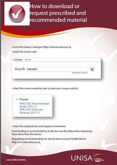 This guide will cover library services to students who cannot visit a Unisa library Instructions on requesting, delivery, renewal and returning library material Literature Search, Article Search, Library Services, Library Catalog, Book Recommendations, Coding, Student, Books, Libros