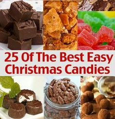 ☆nice list☆ 25 Of The Best Easy Christmas Candies-Gluten Free. ☆Fudge, Toffee, Truffles, and then she gives variations to mix it up a bit. Easy Christmas Candy Recipes, Holiday Candy, Christmas Sweets, Christmas Cooking, Holiday Baking, Christmas Desserts, Holiday Treats, Holiday Recipes, Christmas Goodies