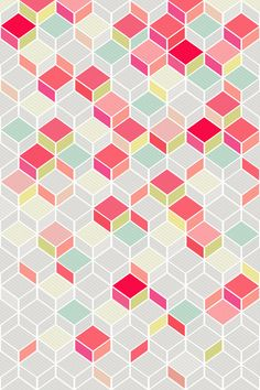 Shop for unique nursery art like the CUBE PINK Art Print by kindofstyle on BoomBoomPrints today! Customize colors, style and design to make the artwork in your baby's room their own! Geometric Patterns, Geometric Designs, Textile Patterns, Geometric Shapes, Color Patterns, 3d Shapes, Textiles, Graphic Design Pattern, Graphic Patterns
