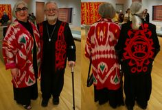 Coriolana Simon and Douglas Wolters make the scene in ikat and Haida fashions - front and back views. Photo by Candace Edgerley
