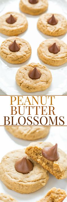 Peanut Butter Blossoms - A soft and chewy recipe for the classic cookie that STAYS SOFT! Easy, full of rich peanut butter flavor, and topped with a Kiss! Always a cookie jar or cookie exchange favorite! Chewy Peanut Butter Cookies, Peanut Butter Cookie Recipe, Peanut Butter Recipes, Best Cookie Recipes, Baking Recipes, Holiday Recipes, Dessert Recipes, Party Recipes, Holiday Treats
