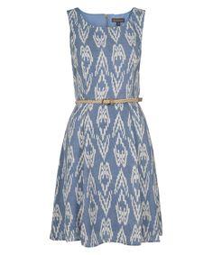 Luxology Ikat Print DressLuxology Ikat Print Dress, Light Blue/Ivory