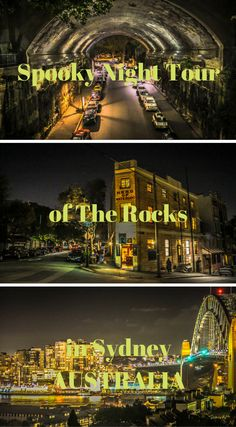 Spooky Night Tour of The Rocks in Sydney Australia. Every big city seems to have a dark past tucked away in a corner. For Sydney, this is The Rocks district. It is made up of the original city center that was colonized by the British that first arrived on the coast in 1788. The area is known for its dark past as it was built specifically for the convicts being sent over from Britain. Click to read more at http://www.divergenttravelers.com/spooky-night-tour-the-rocks-sydney/