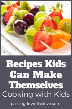 Cooking with kids is great fun for them AND you! Here are some recipes kids can make themselves. Try some of these easy and fun recipes to make with kids! Good recipes kids can make alone. Cooking with Kids Recipes Kids Can Make, Easy Meals For Kids, Fun Easy Recipes, Healthy Recipes, Kids Meals, Food To Make, Healthy Snacks, Healthy Cooking, Kids Cooking Recipes Easy