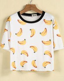 T-Shirt motif bananes -blanc