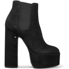 Laurence Dacade Laurence suede platform ankle boots (1.150 BRL) ❤ liked on Polyvore featuring shoes, boots, ankle booties, heels, black suede ankle booties, black suede boots, black high heel boots, black heeled boots and black heeled booties