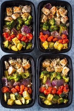 Prep - Healthy Chicken and Veggies Seasoned with olive oil and italian spices then roasted to perfection, this sheet pan chicken and rainbow veggies is great for meal prep and makes a healthy lunch or dinner too! Meal prepping is a…Seasoned with olive oil Lunch Meal Prep, Easy Meal Prep, Healthy Meal Prep, Healthy Cooking, Healthy Eating, Easy Meals, Cooking Fish, Paleo Food, Easy Cooking