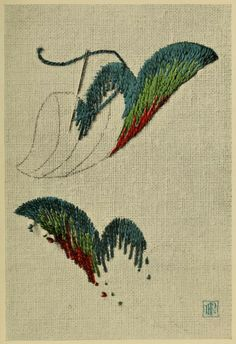 """The front and back of an embroidery stitch example. From the public domain book, """"Points d'anciennes broderies anglaises (1909)."""""""
