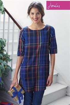 Buy Joules Etty Tunic In Navy Check from the Next UK online shop