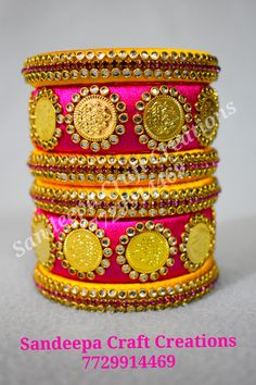 Silk Thread Bangles Design, Silk Thread Earrings, Thread Jewellery, Fabric Jewelry, Kundan Bangles, Silk Bangles, Bridal Bangles, Beaded Necklace Patterns, Jewelry Patterns