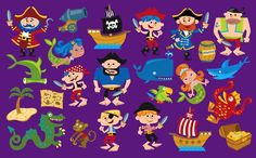 Pirate Characters for Babies R Us Toy R, Babies R Us, Toys R Us, Characters, Illustrations, Design, Figurines, Illustration, Illustrators