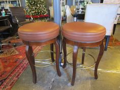 Pair of Round Barstools with Leather Tops — Sarah Cyrus Home