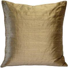 Pillow Décor - Sankara Silk Throw Pillows (Gold - Casual/Traditional/Modern & Contemporary), Pillow Decor - 16 x 16 (Polyester, Solid Color)