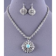 Silver and Turquoise Ornate Pendant Necklace