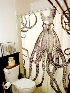 Suzie: Design Sponge - Fantastic bathroom design with Thomas Paul Octopus shower curtain, . Bathroom Inspiration, Interior Inspiration, Design Inspiration, Bathroom Ideas, Design Bathroom, Bath Ideas, Bathroom Goals, Octopus Shower Curtains, Octopus Bathroom
