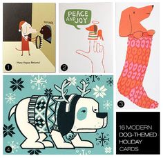 16 Modern Dog Themed Holiday Greeting Cards