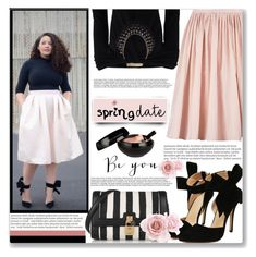 """""""Spring date"""" by mood-chic ❤ liked on Polyvore featuring Illamasqua, Dolce&Gabbana, Michael Kors, Balmain, plussize and springdate"""
