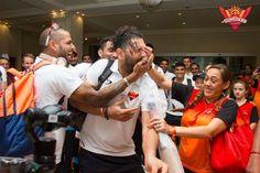Candid moment for Shikhar Dhawan Yuvraj Singh and Hazel Keech after SunRisers Hyderabad won the IPL opening game #IPL2017 For more cricket fun click: http://ift.tt/2gY9BIZ - http://ift.tt/1ZZ3e4d