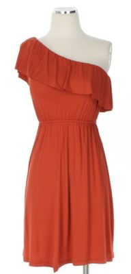 One shoulder dress in burnt orange. Screams #texas #gameday