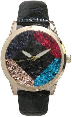 OLIVIA PRATT Olivia Pratt Womens Geometric Multi-Colored Stone Dial Black Leather Watch 26664Black