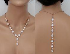 Wedding Backdrop necklace with crystal teardrops
